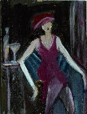 "No.1051  ""Martini Series-Maroon Dress""   6""x4"" on Panel"